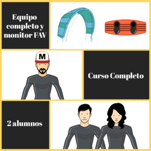 curso completo kitesurf con amigos